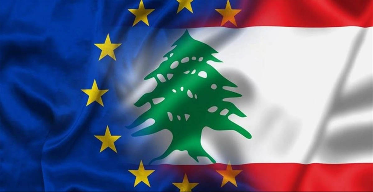 علم الاتحاد الاوروبي وعلم لبنان