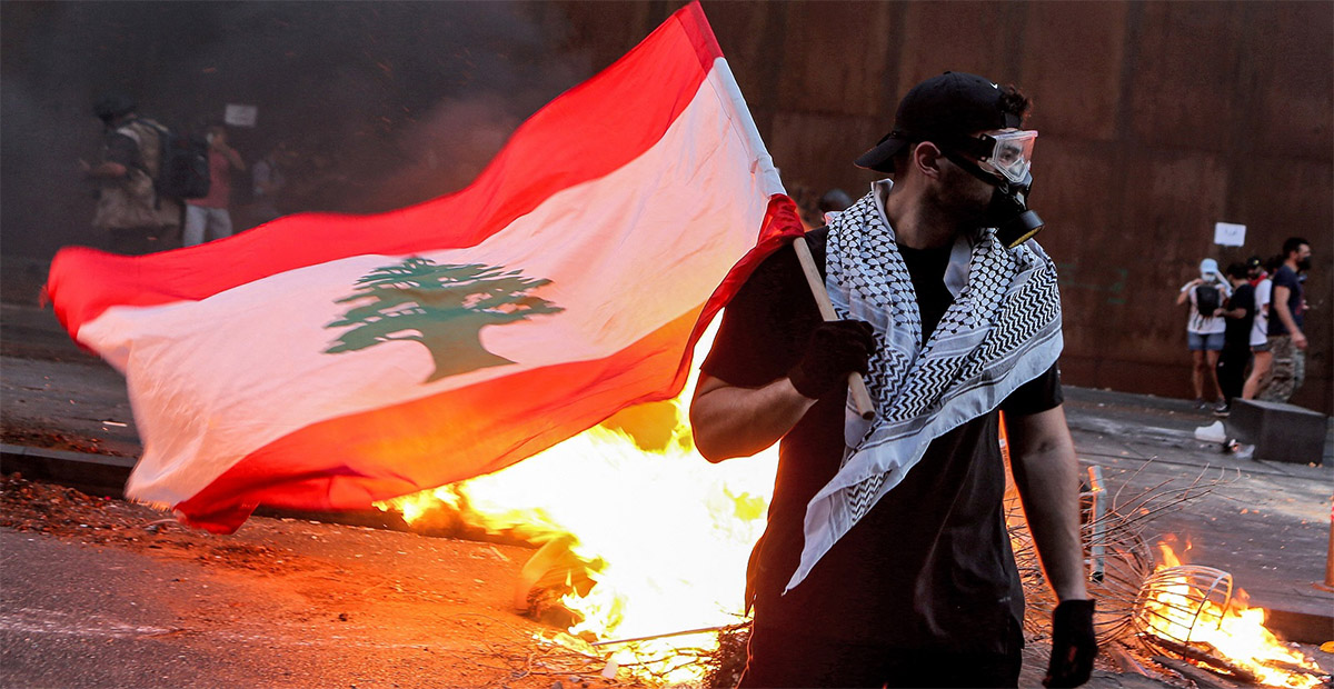 علم لبنان مظاهرات